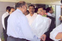 L to R: Mr. Sathyanarayan Murthy, Sr. VP - Nitesh Land with Mr. Madhavan, Managing Director - Dhanalakshmi Bank at the bank's branch opening at Nitesh Broadway, M.G Road, Bangalore.