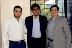 Mr. Nitesh Shetty with Mr. Mansoor Kazerouni (Right) and Mr. Zain Thanawalla (Left) at the signing of the Ali Asker Road Joint Venture